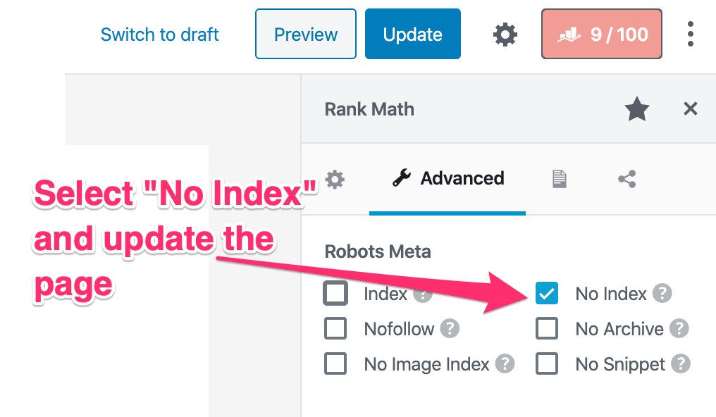 Noindex a Page in WordPress - Rank Math 3