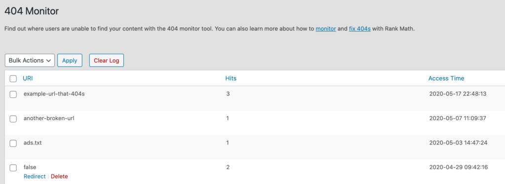 rank math vs yoast - 404 monitor tool