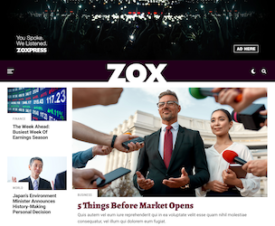 Zox wordpress AMP compatible news theme