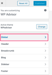 how to change wordpress fontsize - global settings